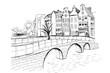 Panorama Amsterdamu/ Rysunek ręcznie rysowany na białym tle.