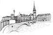 Panorama miasta Zurich.Rysunek ręcznie rysowany na białym tle.