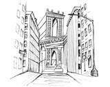 Fototapeta Nowy Jork - Panorama miasta Nowy Jork. Rysunek ręcznie rysowany na białym tle.