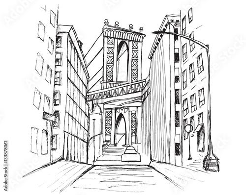 Fototapeta Panorama miasta Nowy Jork. Rysunek ręcznie rysowany na białym tle. obraz