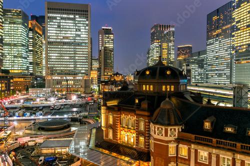 Foto auf Gartenposter Tokio Central of tokyo and tokyo train station at dusk