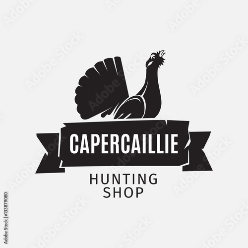 Fotografia, Obraz Vintage style vector hunting shop logo with grouse silhouette