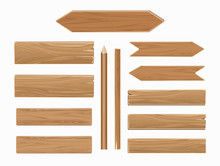 Vector Wooden Planks Isolated On White Collection