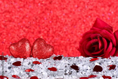 The Red Heart Shapes And Red Rose Flower On Abstract Light Red