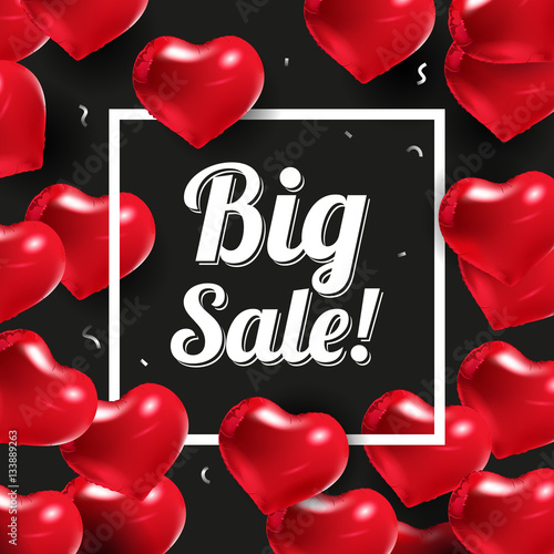 Black background with red hearts  Wedding over poster