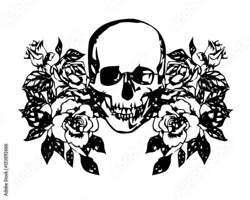 Printed kitchen splashbacks skull and roses