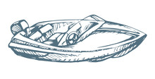 Powerboat. Vector Drawing
