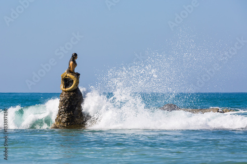 mermaid statue of Ngapali Beach near Thandwe at Rakhine state in Myanmar Canvas Print