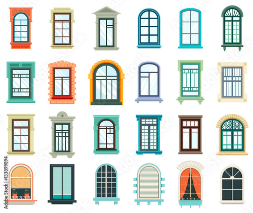 Set of plastic and wooden window frames - Buy this stock vector and ...