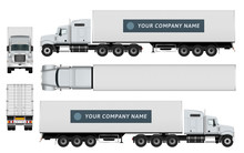 Cargo Container Truck Template On White Background. The Ability To Easily Change The Color. All Sides In Groups On Separate Layers. View From Side, Back, Front And Top.