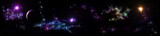 Panorama of star clusters. planet against the background galaxies,