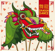 Design With Chinese Green Dragon Performing Dance In New Year, Vector Illustration