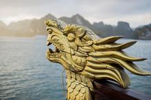 Close-up Detail Of Dragon Head On Boat At Sunrise, Ha Long Bay, Vietnam