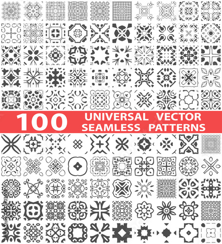 Fototapeten Künstlich 100 Universal different vector seamless patterns (tiling). Endless texture can be used for wallpaper, pattern fills, web page background,surface textures. Set of monochrome ornaments