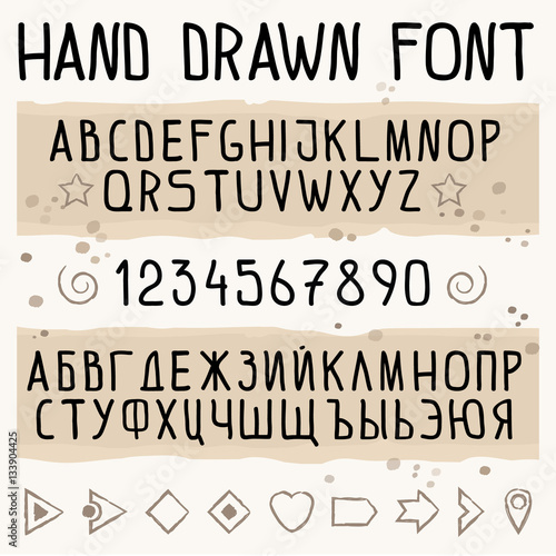 Hand Drawn Font With Latin And Cyrillic Russian Symbols Numbers