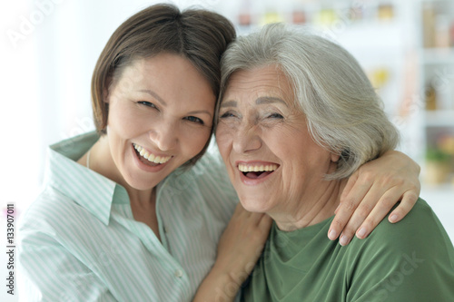 senior mother with adult daughter #133907011