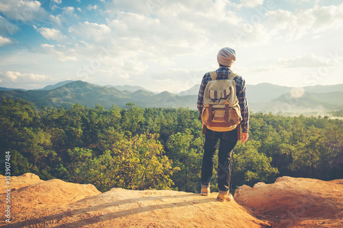 Obraz Man Traveler with backpack mountaineering Travel Lifestyle conce - fototapety do salonu