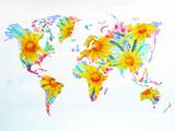 mapa świata akwarela ręcznie rysowane kwiat kwiatowy grafika - 133909070