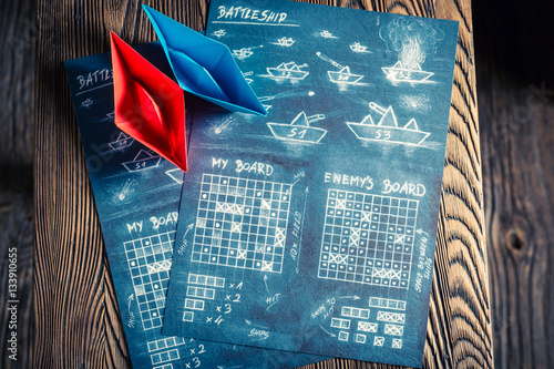 Photographie Children's battleship paper game for two players