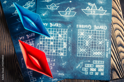 Stampa su Tela Vintage battleship paper game as a battle concept
