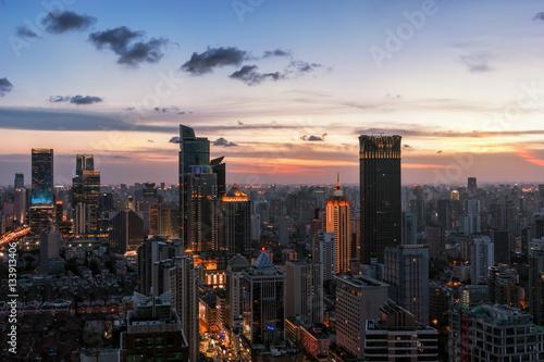 Canvas Prints New York shanghai skyline at dusk