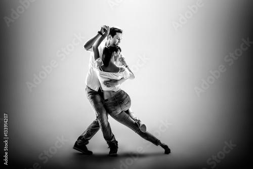 Küchenrückwand aus Glas mit Foto Tanzschule couple dancing social danse