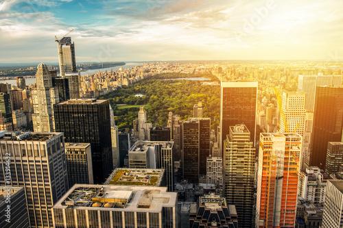 Carta da parati Skyline on Central Park at sunset