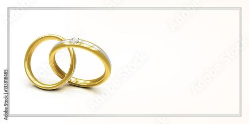 Karte Zur Einladung Zur Hochzeit Mit Zwei Ringen Freiraum Fur Text