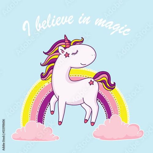 Fotografie, Obraz  I believe in magic unicorn illustration