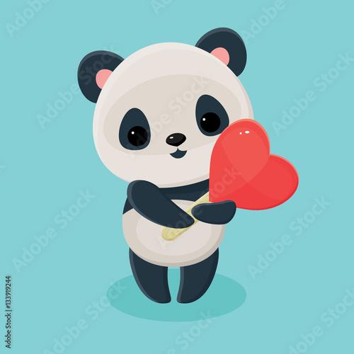 Fotografie, Obraz  Panda holding lollipop