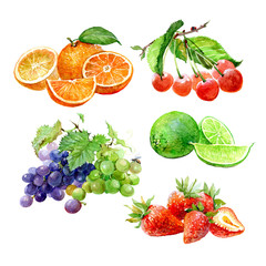 Set of watercolor fruits orange, cherry, lime, lemon, grape, strawberry isolated on white background.