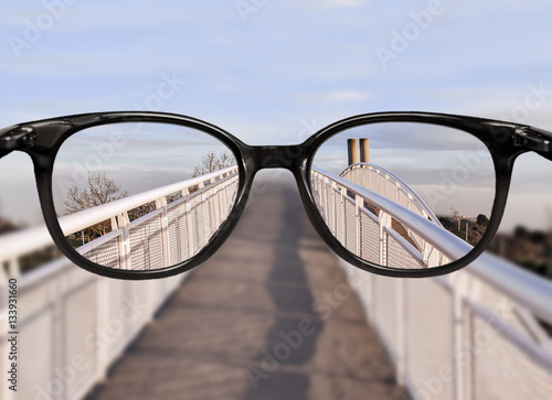Fotografie, Obraz  Clear vision over bridge perspective
