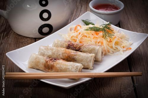 Poster Klaar gerecht Fried Chinese Spring rolls