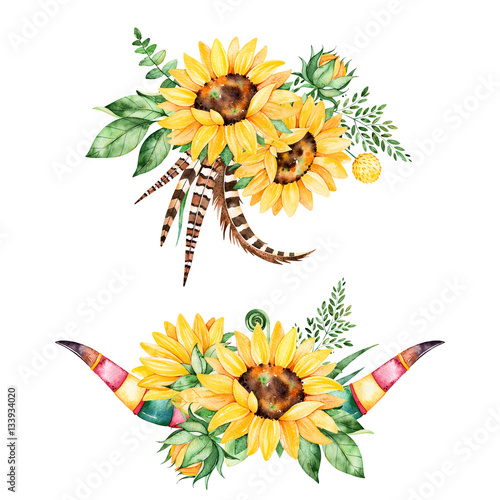 beautiful floral collection with sunflowers leaves branche fern leaves feathers antlers 2