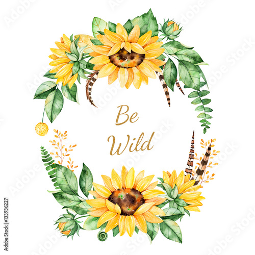 Colorful floral template card with sunflowers,leaves,foliage ...