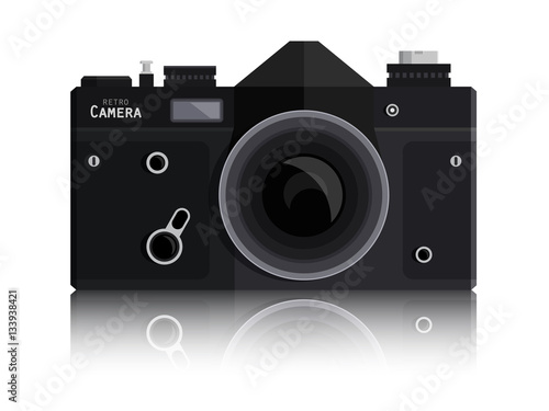 Camera Vintage Vector Free : Retro vector photo black camera isolated on white background
