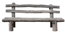 Ancient Rural Bench From Logs.