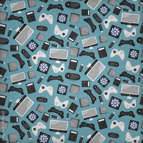 wektor-kreskowka-wzor-z-akcesoria-do-gier-sprzetu-i-laptopa-na-papier-do-pakowania-prezentow-obejmujace-i-marki-na-niebieskim-tle