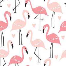 Seamless Flamingo Pattern Vect...