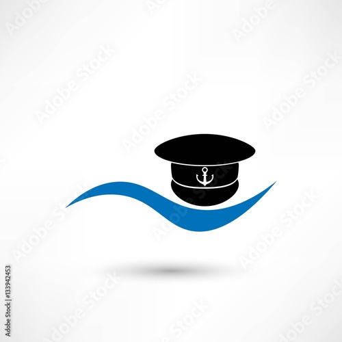 b4b94ff4b6c Captain hat icon isolated on white background - Buy this stock ...