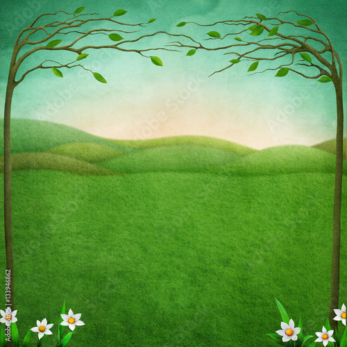 Canvas Prints Green coral Background for Easter festive greeting card or poster with green rustic landscape, tree and flower