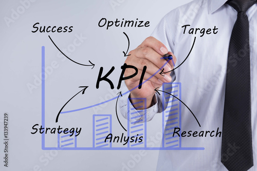 Photo  Businessman hand drawing KPI,concept