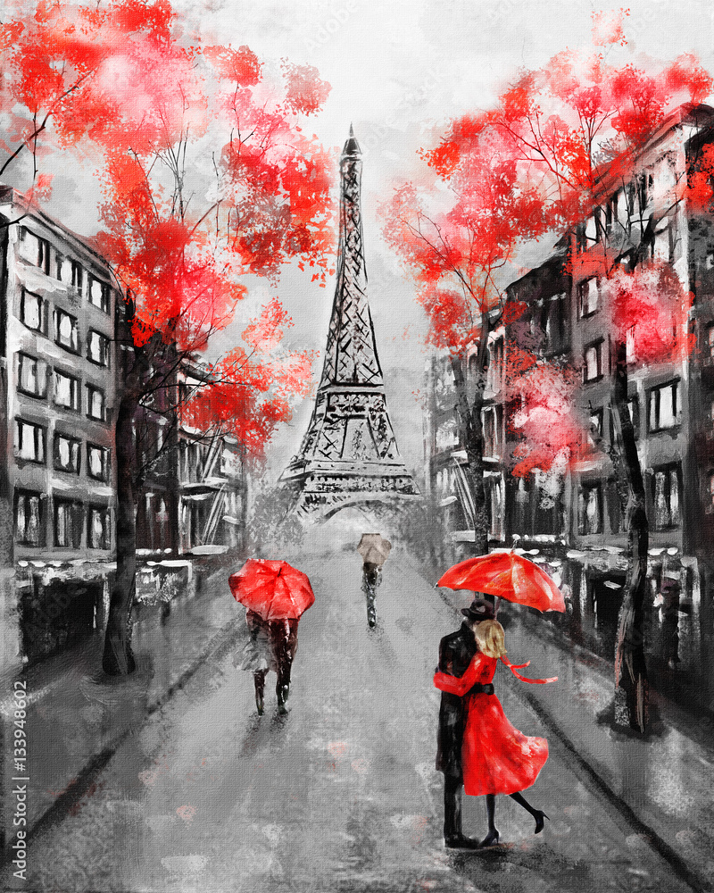 Fototapety, obrazy: Oil Painting, Paris. european city landscape. France, Wallpaper, eiffel tower. Black, white and red, Modern art. Couple under an umbrella on street