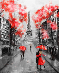 Fototapeta Oil Painting, Paris. european city landscape. France, Wallpaper, eiffel tower. Black, white and red, Modern art. Couple under an umbrella on street