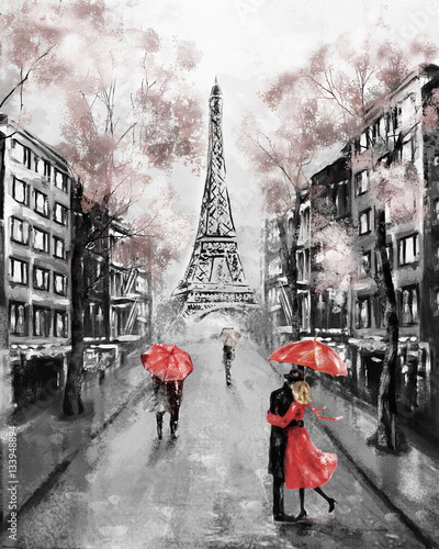 Plakaty na wymiar  plakat-na-wymiar-oil-painting-paris-european-city-landscape-france-wallpaper-eiffel-tower-modern-art-couple-under-an-umbrella-on-street