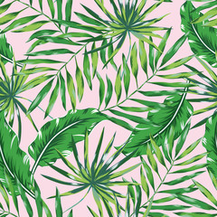 Fototapeta na wymiar Green palm leaves on the pink background. Vector seamless pattern. Tropical illustration. Jungle foliage.