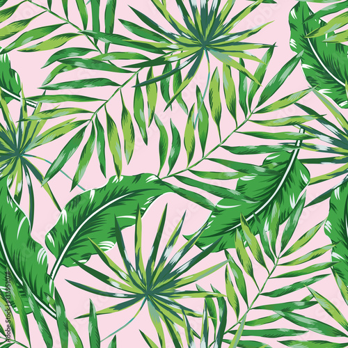 Fototapeta Green palm leaves on the pink background. Vector seamless pattern. Tropical illustration. Jungle foliage.