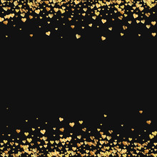 Gold Gradient Hearts Confetti. Borders On Black Valentine Background. Vector Illustration.