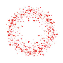 Red Hearts Confetti. Circle Fr...