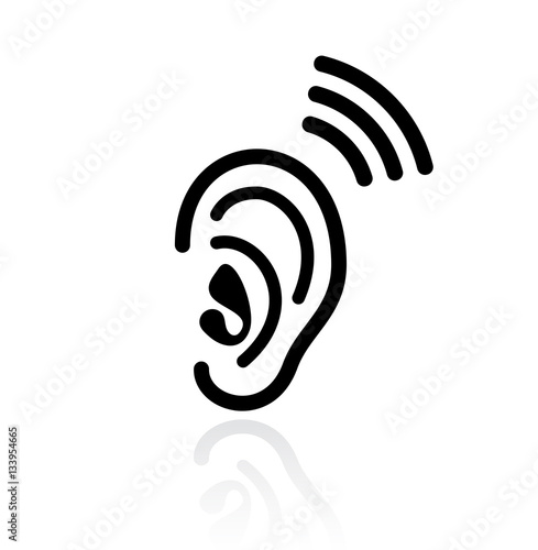 Valokuva  Ear hearing vector icon